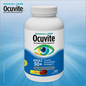 Bausch + Lomb Ocuvite Adult 50+, 150 Softgels ,Eye Vitamin & Mineral Supplement