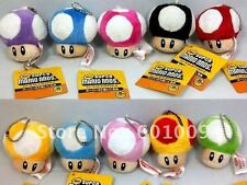 "Nintendo Super Mario Bros Mushroom 2.5"" Mini Plush Keychain Keyring - Pale Pink"