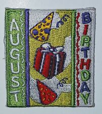Girl Scouts August Birthday Patch Badge Present Hats Yellow Red NEW