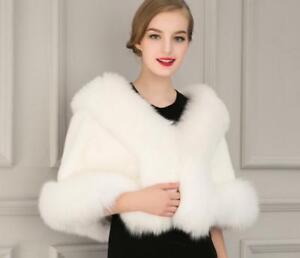 Bride Wedding Girl Womens Cape Shawl Cloak Fur Coat Jacket Parka Outwear One Sz