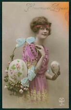 Pretty Edwardian Lady Basket Easter Egg Fantasy original old 1920 photo postcard