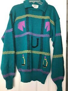 Vintage Sportif Euro Collar Sweater Men Size Small RARE Checkers Pattern E