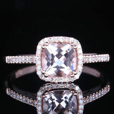 Pave Setting Morganite Cushion Halo Diamond Wedding Party Ring 10K Rose Gold