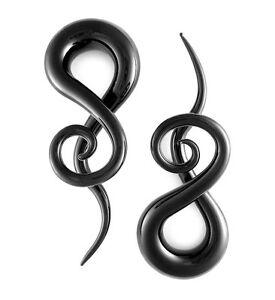 Pair Black Curls and Loops Glass Hangers Gauges