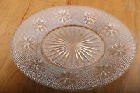 Vintage Cut Glass Plate With Flower Pattern