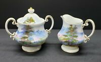 Vintage Handpainted Scenic Creamer and Sugar Set- Made in Japan