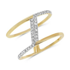 Negative Space Right Hand Ring Wide 14K Yellow Gold Pave Diamond