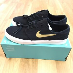 Nike SB Zoom Janoski Canvas RM Skate Boarding Mens Black Gold Size 10
