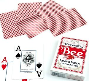 """BEE """"JUMBO INDEX"""" Playing Cards Sealed New In Box """"RED"""" USA SHIPS FREE"""