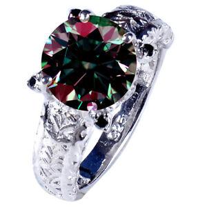 3.47+Ct Vvs1>NATURAL WHITE BROWN BLUE MOISSANITE DIAMOND 925 SILVER MEN'S RING