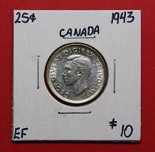 1943 25 Cent Canada Twenty Five Cents Quarter Coin D89 - $10 EF