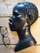 Céramique tête de femme noire vallauris buste 50 60 vintage