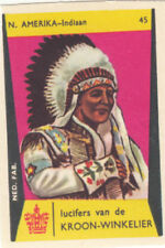 INDIAN INDIEN NORTH AMERICA MAN COSTUME CARD IMAGE MATCHBOX LABEL 1961