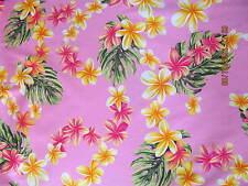Hawaiian Quilting Fabric Pink with Peachy Plumeria Leis Full Yard