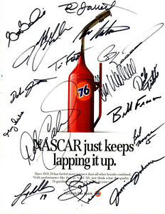 1990's NASCAR Cup Series drivers original hand signed autographed Unocal advert
