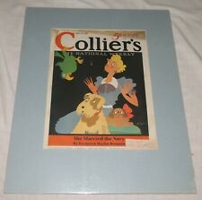 Colliers National Weekly 10 August 1935 matted front cover - with Green Macaw