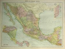 1934 LARGE MAP ~ MEXICO & CENTRAL AMERICA ~ BRITISH HONDURAS