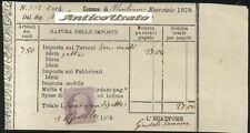 ADELFIA MONTRONE 1878 CEDOLA DI IMPOSTE TERRENI CON MARCA DA BOLLO DA 5 CENT.