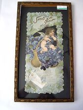 """Brundage 1908 """"TUCK"""" Valentine Card Mounted in an Antique Frame w/ Sweet Cupid *"""