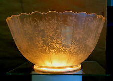 NICE ANTIQUE OIL/GAS/ELECTRIC LAMP ETCHED SHADE 4 Inch Fitter Flowers Duplex