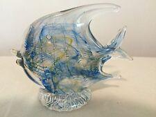 "Art Glass 5 1/4"" Aqua Blue Angelfish, handmade by Bermuda artist Gayle Weyland"