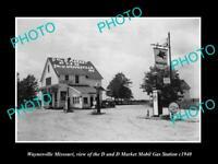 OLD POSTCARD SIZE PHOTO OF WAYNESVILLE MISSOURI THE MOBIL GAS STATION c1940