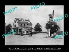 OLD POSTCARD SIZE PHOTO OF WAYNESVILLE MISSOURI THE MOBIL GAS STATION c1940