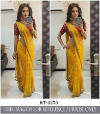 Silk Blend Saree Blouse Fancy Sequins Thread Work Traditional Yellow Party Sari