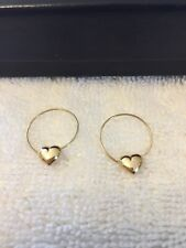 14k Yellow Gold Hoop Earrings With Hearts