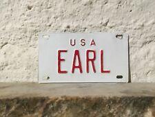 VINTAGE  50 'S USA EARL MINI METAL LICENSE PLATE Rare