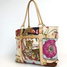 Authentic Salvatore Ferragamo AU-21 6408 Animal pattern Tote Bag Nylon/leath...