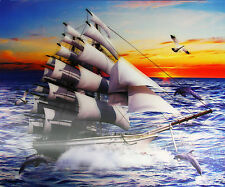 3D Lenticular Poster - Clipper Ship with a beautiful Sunset - 12x16 Print -