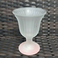 Vintage 1930s Art Deco Pale Pink Ribbed Glass Pedestal Vase Sundae Glass