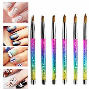 Rainbow Acrylic Nail Brush Kolinsky Sable Hair with Crimp Round Liquid Sequins #