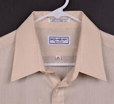 Vtg 80s Yves Saint Laurent YSL Men's Sz 17 34/35 Logo Stitch Taupe Dress Shirt