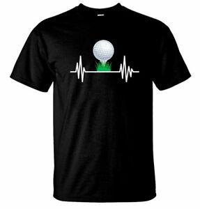 Golf Heart Beat, Men's funny Golf T Shirt Novelty Tees Golfing Gifts
