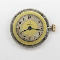 UFix Antique 1908 Omega Parts Watch Movement 2 Tone Dial WWI era 15j