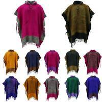 Soft Vegan Wool Hooded Tibet Poncho LoudElephant Cape Warm Festival Hoodie