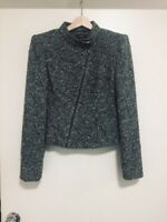 HARRY WHO VINTAGE AUSTRALIAN 1970's grey tweed WOOL jacket SHOULDER PADS AU/UK 8