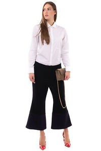 RRP €240 MERCHANT ARCHIVE Wool Trousers Size 12 / L Silk Lined Cropped Flare Leg