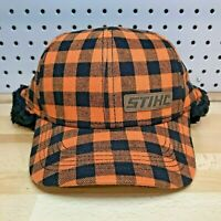 Stihl Outfitters Chainsaws Orange Plaid Flannel Ear Flap Cap Cold Weather Hat