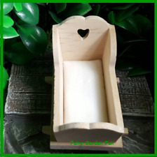 Fairy Garden Miniature Unfinished Wooden Baby Cradle Bed Dollhouse Figurine A665