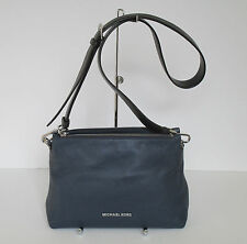 Michael Kors Jane Navy Blue Black Leather Medium Shoulder Handbag