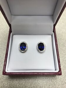 Helzberg Diamonds Silver Sapphire Halo Earrings $99 Retail NIB