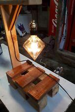 Superbe lampe de chevet/de table luminaire vintage fait avec bois de palette n°2