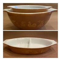 Brown Gold Finish Pyrex Early American Cinderella Nesting Bowls & Casserole Dish