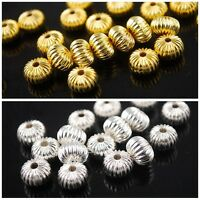 50pcs 8x6mm/10x6mm Gold/Silver Plated Rondelle Metal Loose Spacer Beads Making