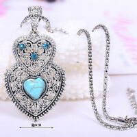 Women's Tibetan Silver Turquoise Inlay Hollow Chain Pendent Necklace Jewelry