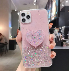 Luxury Sequin Love Heart Case For iPhoneX/XS,XR,XSMAX,11 PROMAX,11,C/W RING HLDR