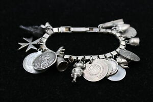 Vintage .925 Sterling Silver COIN CHARM BRACELET w/ Antique, Charms (46g)